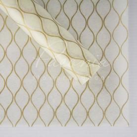 Флизелин флористический листовой соты белый с золотом 60см*60см
