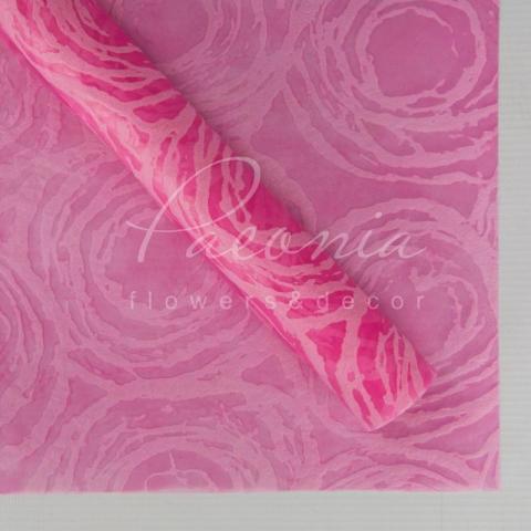 Флизелин флористический водостойкий листовой 60см*60см с принтом круги розовый