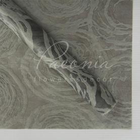 Флизелин флористический водостойкий листовой 60см*60см с принтом круги серый