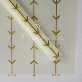 Флизелин флористический листовой 60см*60см лапки белый с золотом