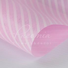 Флизелин флористический листовой 60см*60см с диагональной цветной полосой розовый