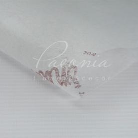 Флізелін флористичний листовий з коричневим написом білий 60см * 60см