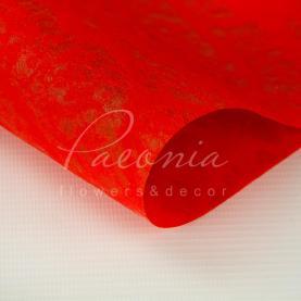 Флізелін флористичний листовий структура корал червоний 60см * 60см