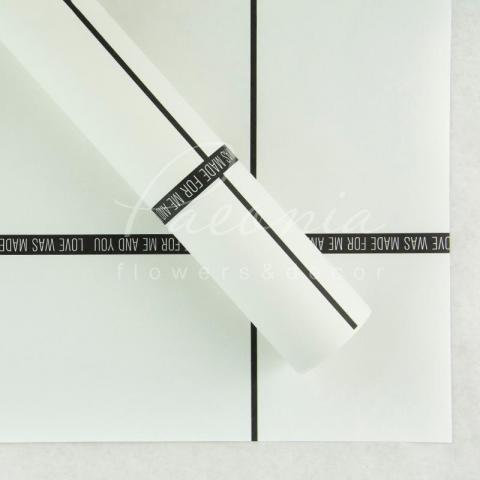Папір Флористичний водостійкий листовий 60см*60см щільність 100г/м кв з принтом Love білий
