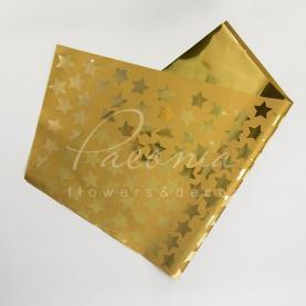 Фольга для упаковки букета 80см*90см Зіркі золотий