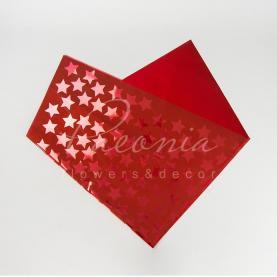 Фольга для упаковки букета 80см*90см Звезды красный