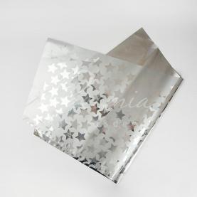 Фольга для упаковки букета 80см*90см Зірки сріблястий