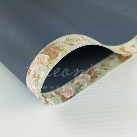 Папір Флористичний водостійкий листовий 60см*60см з квітковим візерунком по краю темно-синій