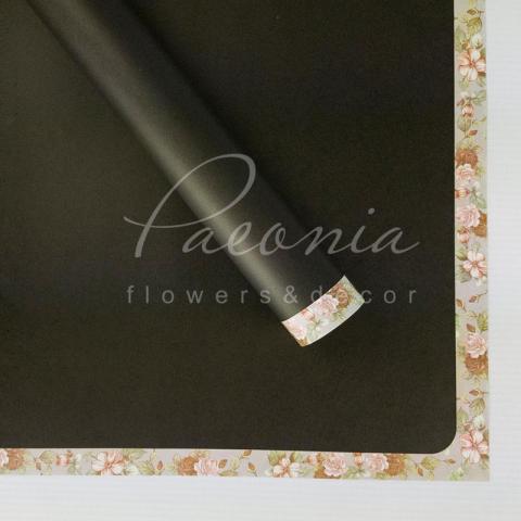 Папір Флористичний водостійкий листовий 60см*60см з квітковим візерунком по краю чорний