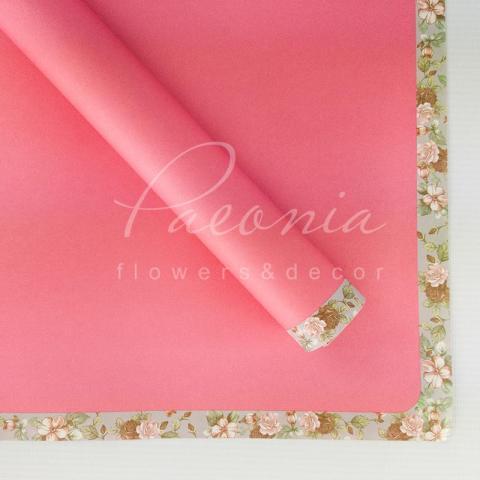 Папір Флористичний водостійкий листовий 60см*60см з квітковим візерунком по краю яскраво-рожевий