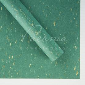 Папір для пакування квітів водостійкий листовий металік темно-зелений 60см * 60см