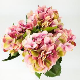 Цветок искусственный Гортензия розовая 53см