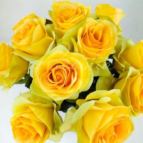 Цветок искусственный Роза желтая 45 см