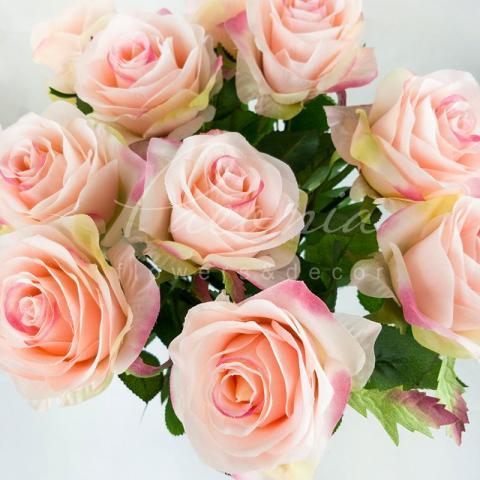 Цветок искусственный Роза розовая 65 см