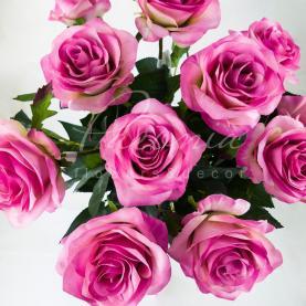 Цветок искусственный Роза розовая 75 см