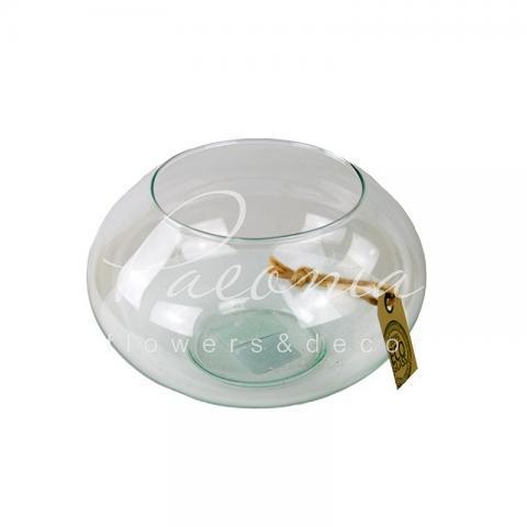 Ваза скляна прозора Eco plate float Ø19см H10.5см