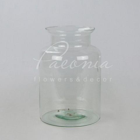 Ваза скляна прозора Milk bottle Ø13см H25.5см