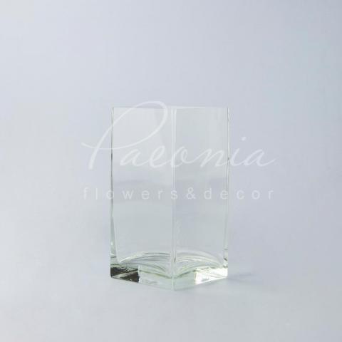 Ваза скляна прозора квадратна Ø10*10см H 20см