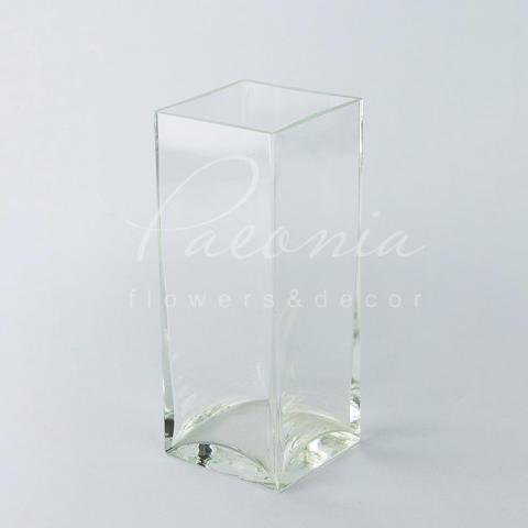 Ваза скляна прозора квадратна Ø10*10см H 25см
