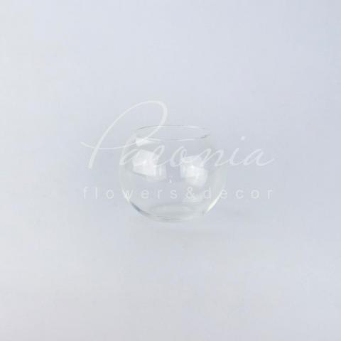 Ваза скляна прозора кругла Акваріум Ø12см H10см