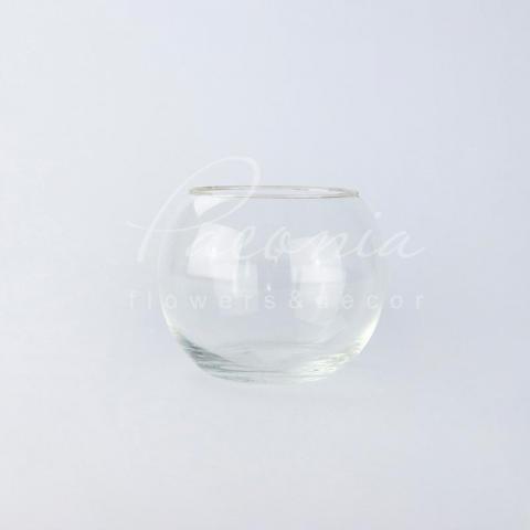 Ваза скляна прозора кругла Акваріум Ø15см H12см