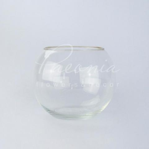 Ваза скляна прозора кругла Акваріум Ø19см H16см