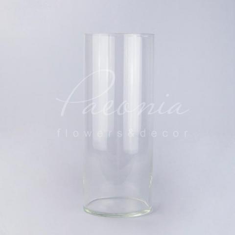 Ваза скляна прозора циліндр Ø16см H38,5см