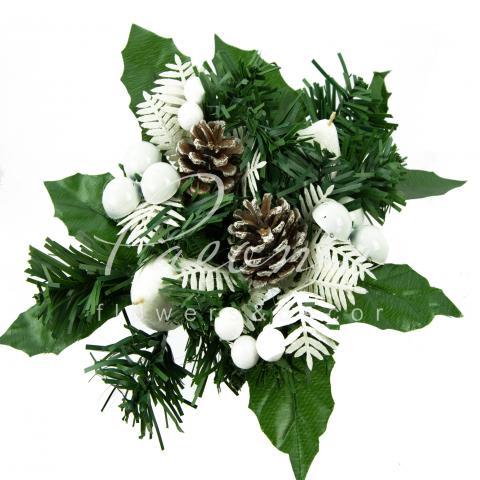 Венок новорічний штучний з білим декором Ø6см