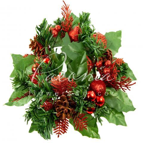 Венок новорічний штучний з червоним декором Ø8см