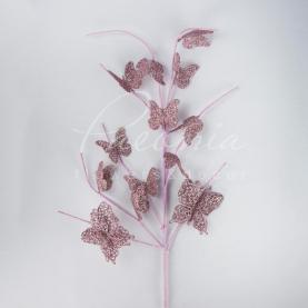 Декор новорічний із пластику гілочка з метеликами висота 75см