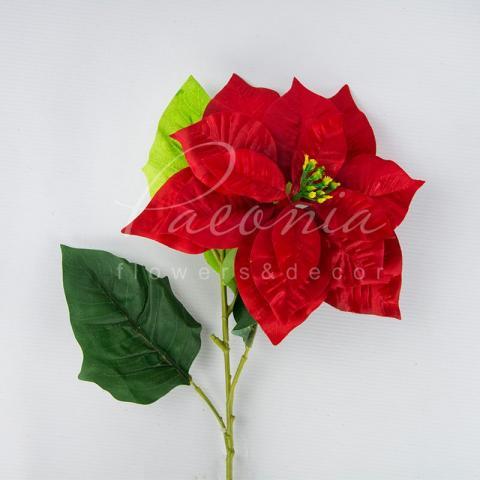Декор новогодний из пластика веточка пуансетии сатиновая высота 80см