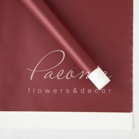 Калька флористическая 60*60см матовая с широким кантом бордо 1 лист