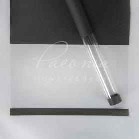 Калька флористична щільна листова з прозорою плівкою і кантом темно-сіра 58см * 30см
