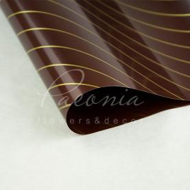 Калька флористическая листовая 60см*60см двухсторонняя с диагональной золотой полосой коричневый