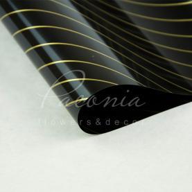 Калька флористическая листовая 60см*60см двухсторонняя с диагональной золотой полосой черный