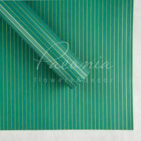 Калька флористическая листовая 60см*60см двухсторонняя с тонкой золотой полосой зеленый