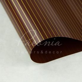 Калька Флористична листова 60см*60см двостороння з тонкою золотий смугою коричневий