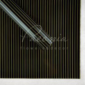 Калька флористическая листовая 60см*60см двухсторонняя с тонкой золотой полосой шоколадный