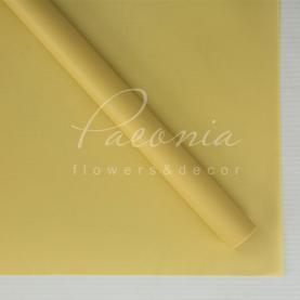 Калька флористическая матовая листовая желто-горчичная 60см*60см