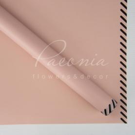 Калька флористическая листовая 60см*60см матовая кантом пунктир косой пудровый с черным