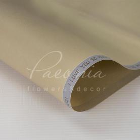 Калька флористична матова листова щільна з написом по діагоналі бежева 60см * 60см