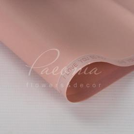 Калька флористична матова листова щільна з написом по діагоналі пудрова 60см * 60см