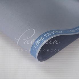 Калька флористична матова листова щільна з написом по діагоналі світло-блакитна 60см * 60см