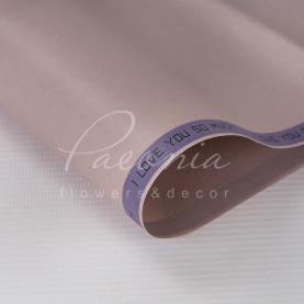 Калька Флористична листова 60см*60см матова щільна з написом по діагоналі сіро-фіолетовий