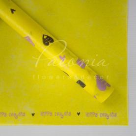 Калька флористична матова листова щільна з принтом сердечка жовта 60см * 60см
