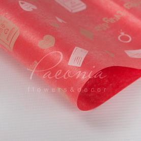 Калька Флористична листова 60см*60см матова щільна з принтом сердечка червоний