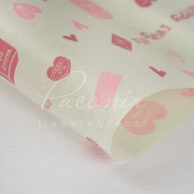Калька флористична матова листова щільна з принтом сердечка рожева 60см * 60см