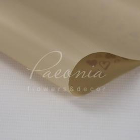 Калька Флористична листова 60см*60см матова з золотистими серцями бежевий