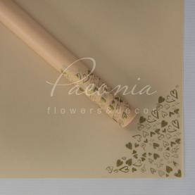 Калька Флористична листова 60см*60см матова з золотистими серцями персиковий