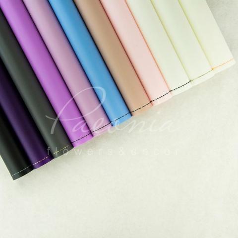 Калька флористическая матовая листовая с кантом фиолетовая 60см*60см